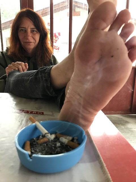 Mid Forties Heavy Smoking Woman Her Cigarettes, Her Smelly Mature Soles, Her Tar -1449