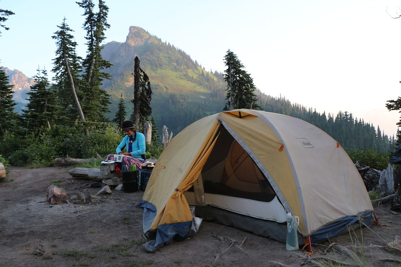 Our tent and campsite at upper Buck Creek Pass with a view of Liberty Cap