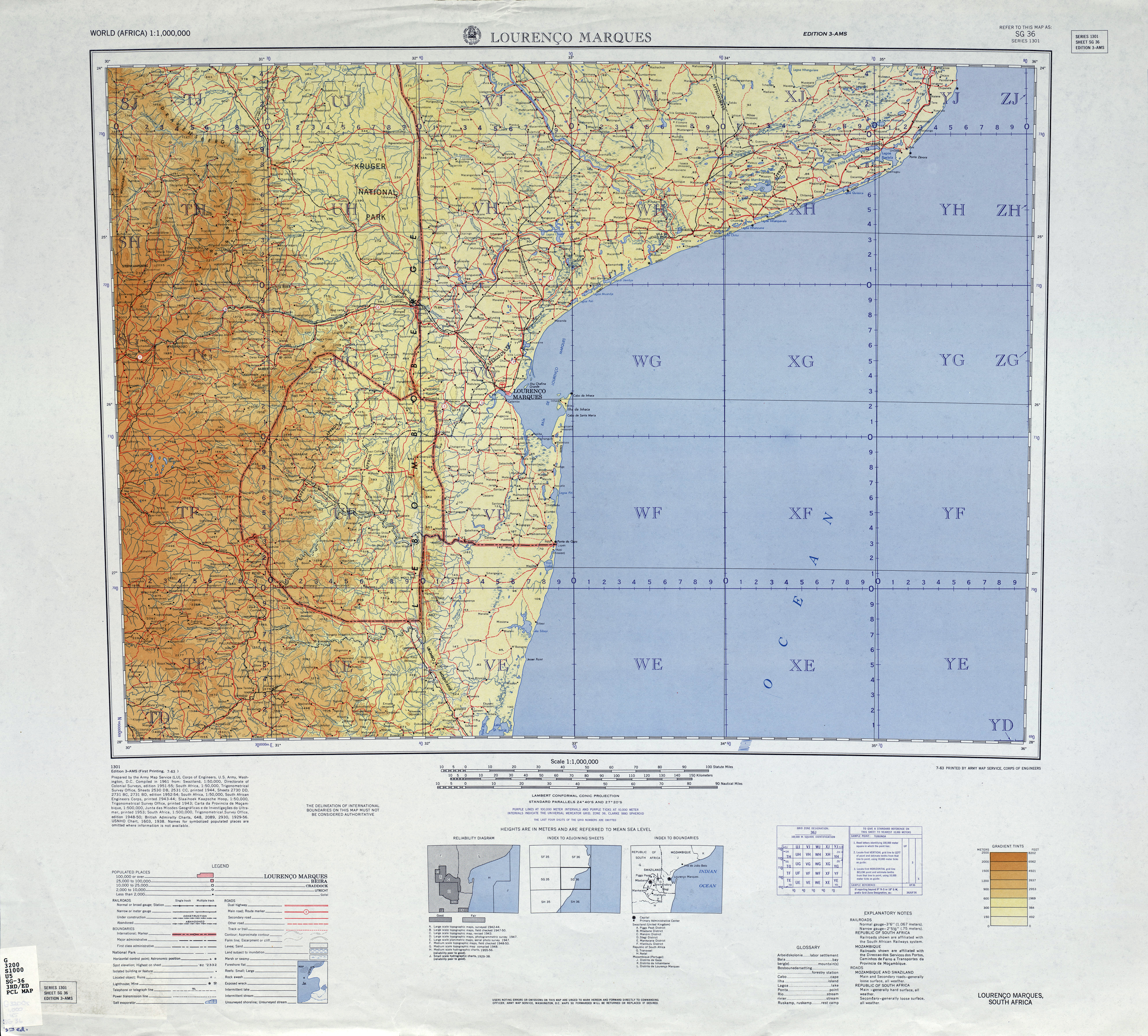 Map of Swaziland, 1955