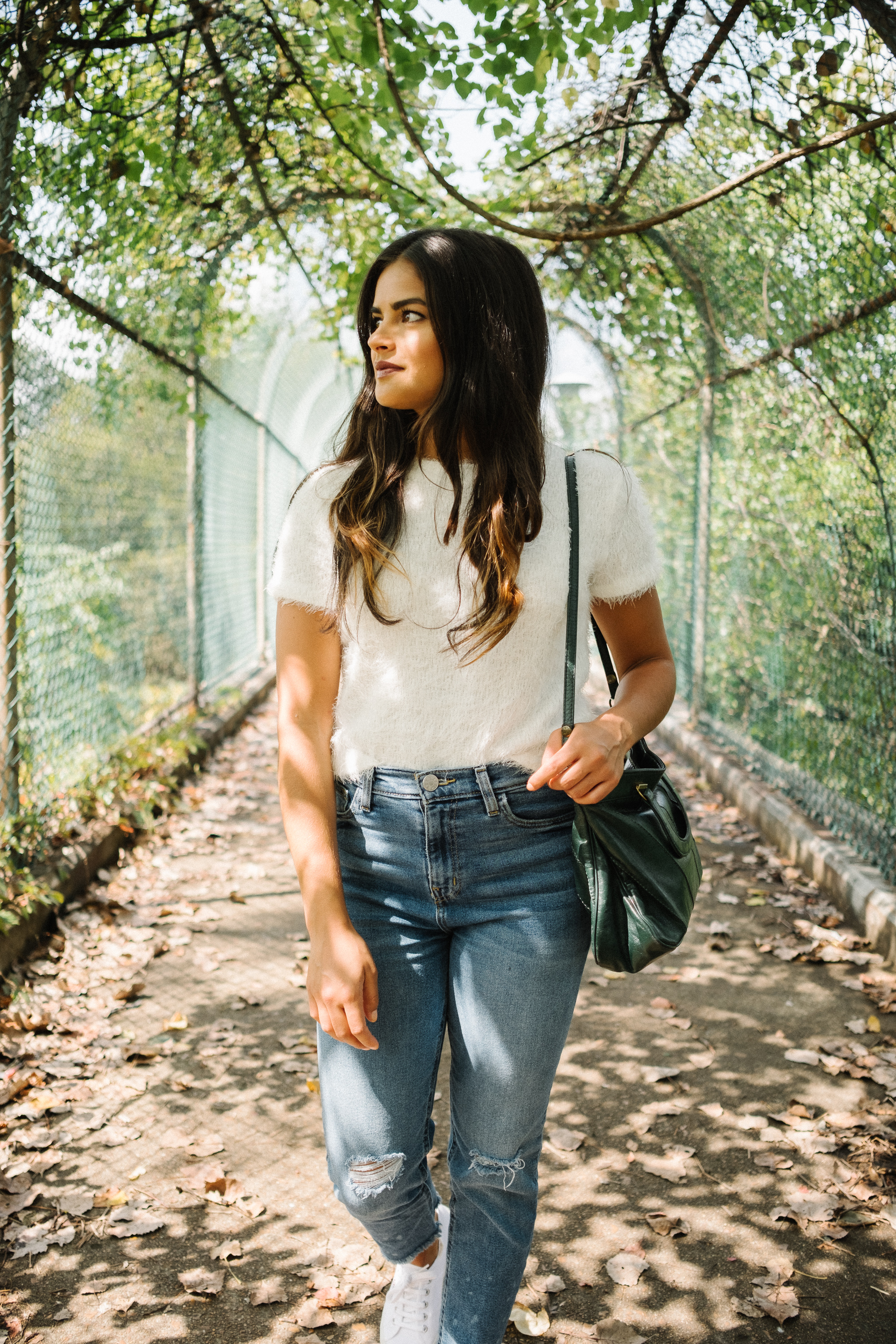 Nashville style blogger, Priya the Blog, fuzzy sweater, white Superga trainers, Fall transitional outfit, transitional Summer outfit, How to wear a fuzzy sweater