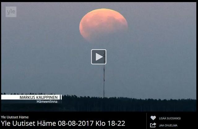 Osittainen kuunpimennys Yle Häme sääkuva. Valokuvaaja: Markus Kauppinen