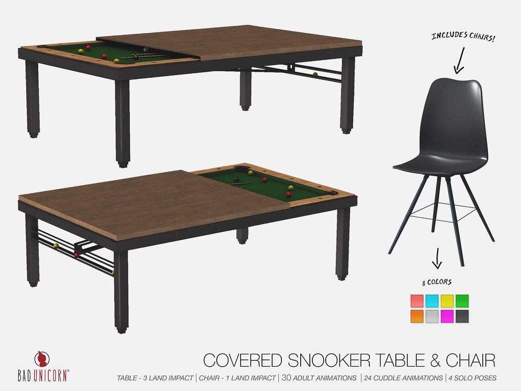 OUT NOW! Covered Snooker Table & Chairs @ TMD! - SecondLifeHub.com