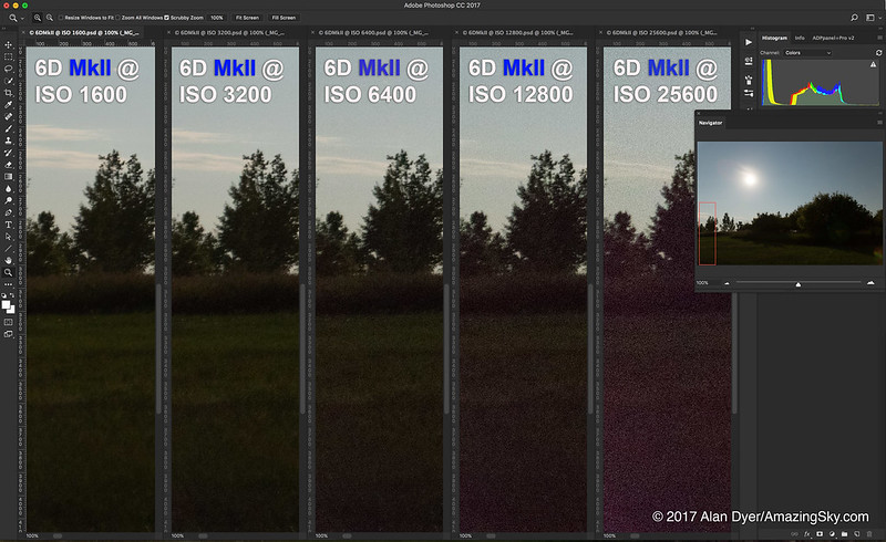 Canon 6D Mk II Noise Comparison at 5 ISOs