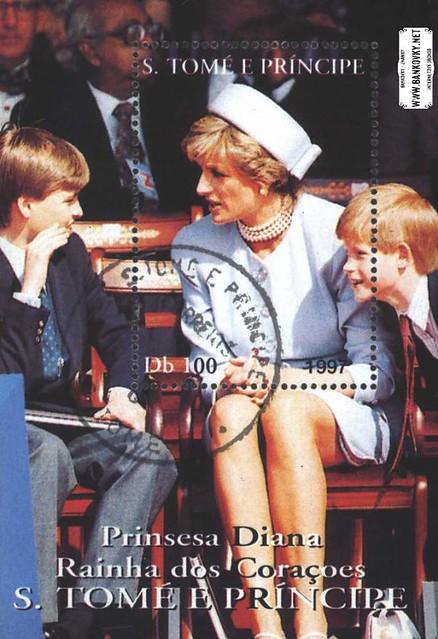 Známky Svätý Tomáš 1997 Princezna Diana, razítkovaný hárček