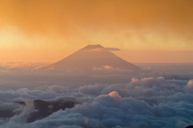 富士山のクローズアップ