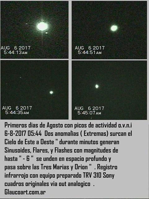 Peaks of activity UFO  6-8-17 taller glaucoart desde argentina