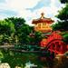 Pagoda of Nan lian garden in Hong Kong city with beautiful background