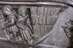 Ripple, Worcestershire, St. Mary's church, stalls, misericords, north side, August:  reaping, detail