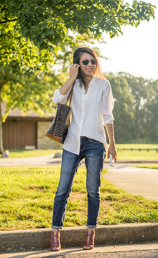 white oversized silk shirt, girlfriend jeans, patterned tote, rose suede lace up heels