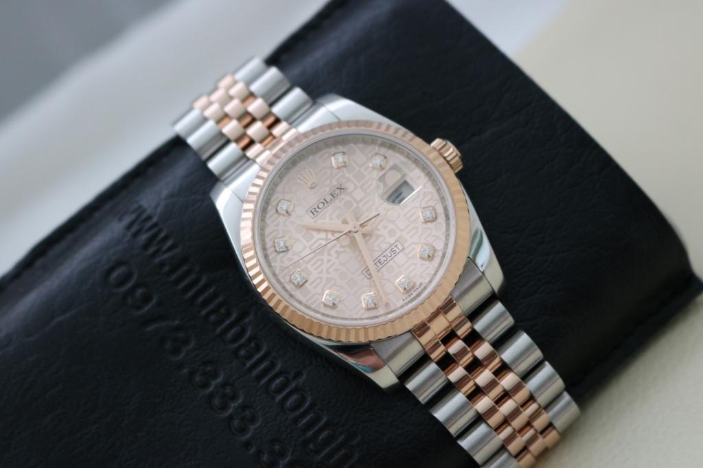 Đồng hồ rolex datejust 6 số 116231 – đè mi vàng hồng – mặt vi tính xoàn – size 36mm
