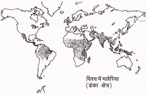 विश्व में मलेरिया (प्रभावित क्षेत्र)