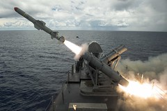 A Harpoon missile launches from the missile deck of USS Coronado (LCS 4) off the coast of Guam during exercise Pacific Griffin in 2017. (U.S. Navy/MC2 Kaleb R. Staples)