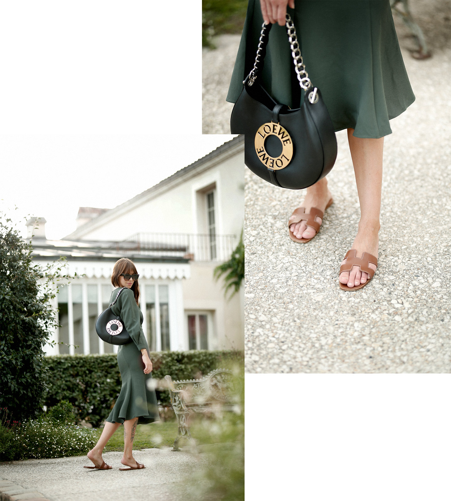 outfit green dress loewe joyce bag breuninger celine sunglasses les sources de caudalie france bordeaux late summer look going out dinner style hermes oran sandals brown minimal french chic parisienne bangs brunette france cats & dogs fashion blogger 5