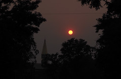 Smoky sun over the University of Denver