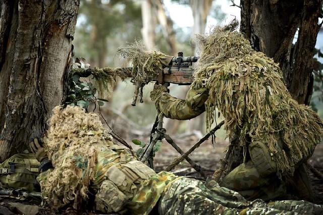 Στοιχείο Αυστραλών Ε.Σ. στις παρυφές του δάσους. Δεντρόφυτες περιοχές προσφέρουν απόκρυψη στα στοιχεία Ε.Σ. αν και ορισμένες φορές περιορίζουν τα πεδία βολής.