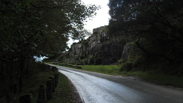 The road separating Claig Tor upper and lower