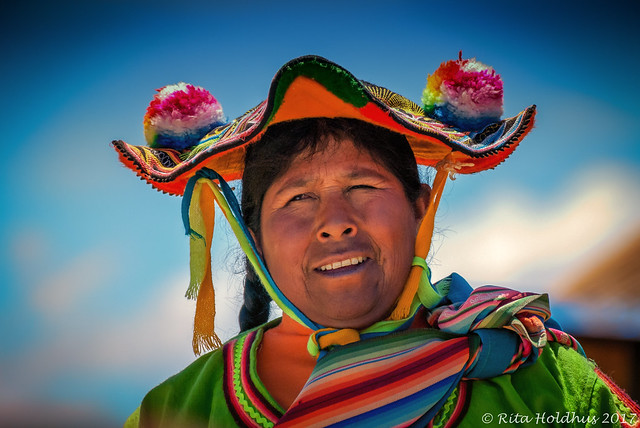 Lady from Titacaca islands in Peru