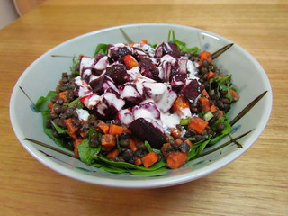 Gingery Beets and Lentils with Tahini and Agave Nectar