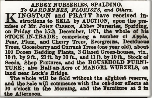 Casbon John bankruptcy auction 1871 Stamford Mercury