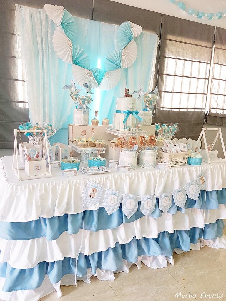 mesa dulce para bautizo Cumpleaños Osito Merbo Events