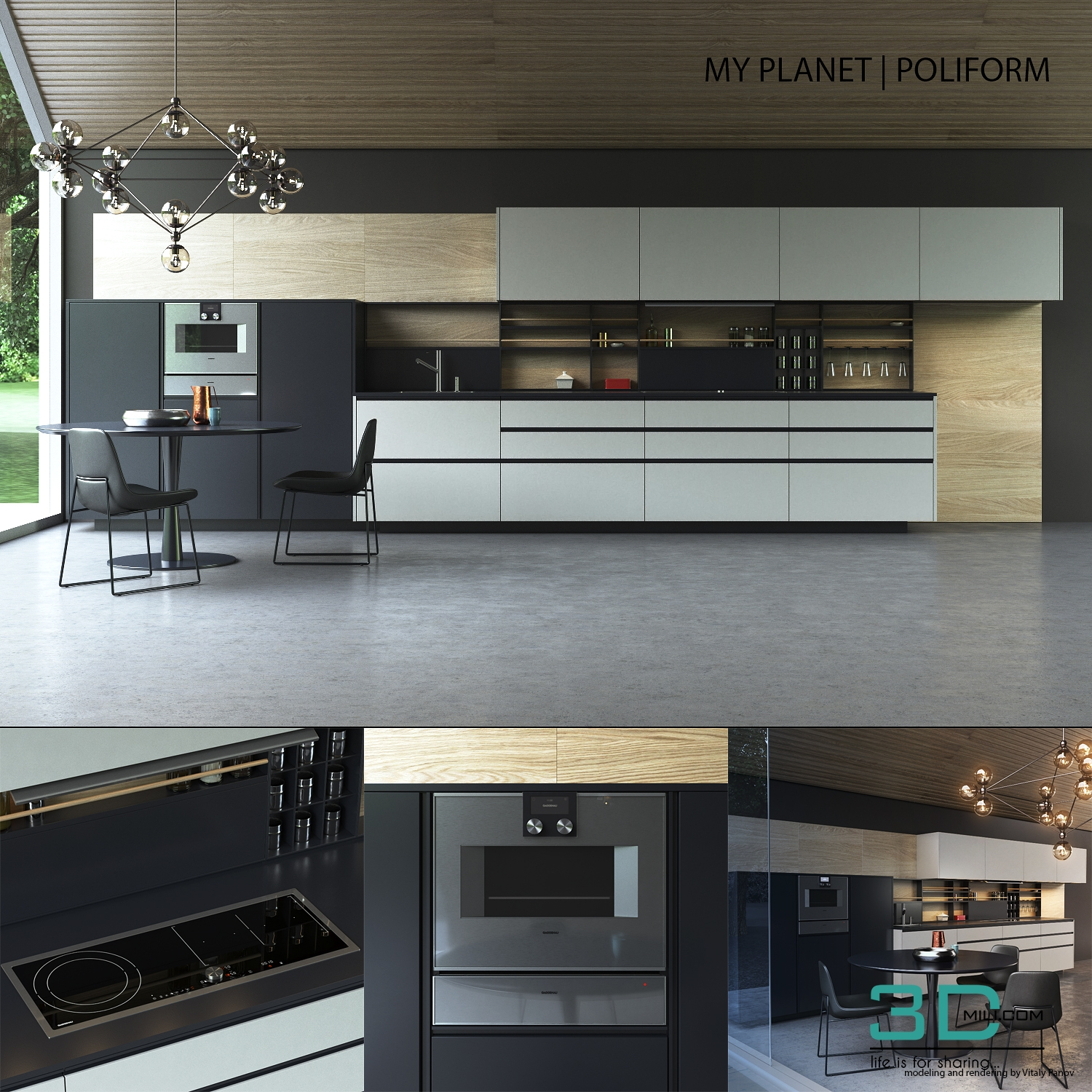 Kitchen Poliform Varenna My Planet 3d Mili Download 3d Model