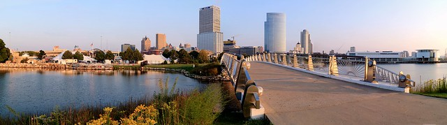 August Morning at Lakeshore State Park Bridge (Panorama)