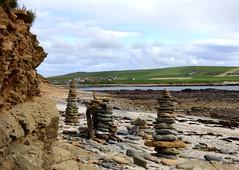 Holiday Makers' Stones At Birsay Seashore