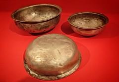 Silver basins unearthed from Tomb 1 Dayun Mountain Xuyi Jiangsu China Western Han period 2nd century BCE