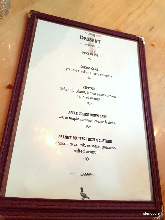 The Gabardine dessert menu and prices