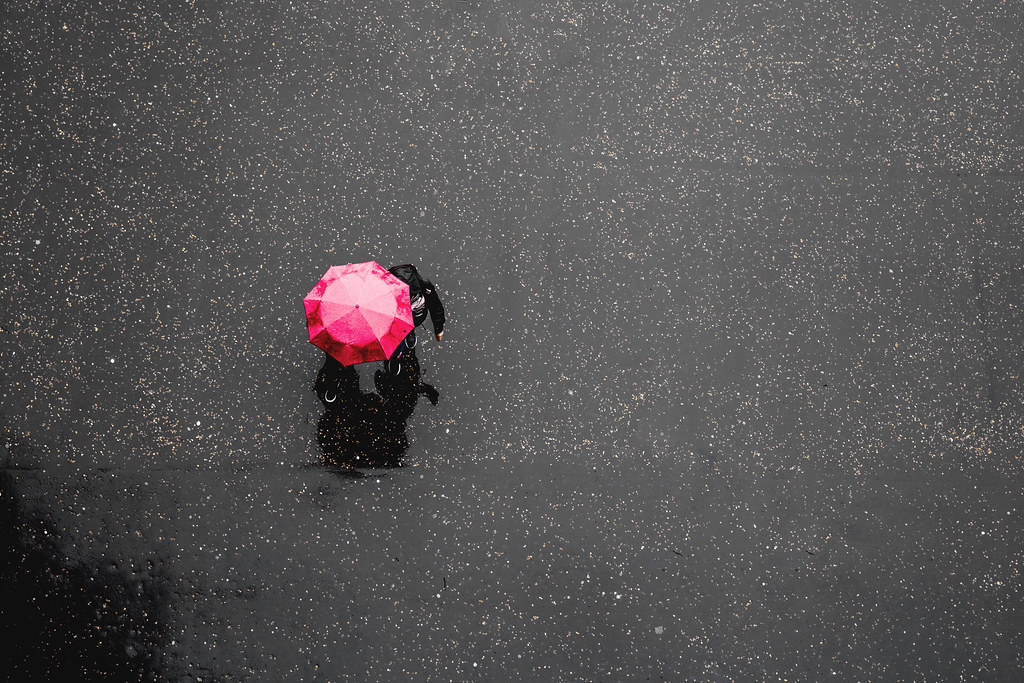 Pink umbrella in London