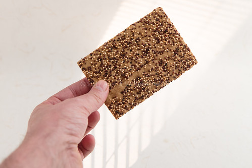 Human hand holding a rye cracker with quinoa.