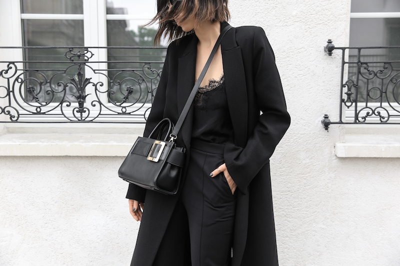 black bally buckle bag loafers minimal paris street style kaity modern legacy all black outfit inspo (2 of 2)