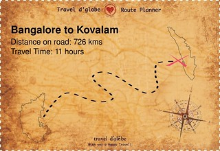 Map from Bangalore to Kovalam