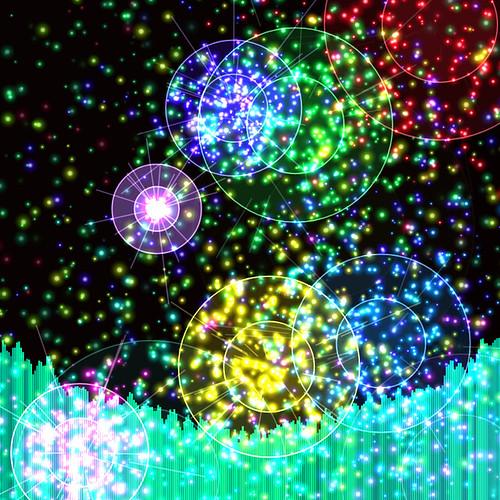 JS_Music Player_SS_(2017_09_17)_1_Cropped_1 HTML5 ミュージック プレイヤーのスクリーンショット画像。 黒い背景の上に多数の色とりどりの二重の光る円環があり、円環の中心からその円環と同色の多数の輝く粒子と光線が放出されている。 画面の下方には音楽のスペクトラム アナライザーのヴィジュアライザーが描画されており、垂直の青緑色のバーが多数横方向に並んで伸び縮みしている。 青緑色のバーは明るさと色相に微妙なグラデーションが掛かっている。