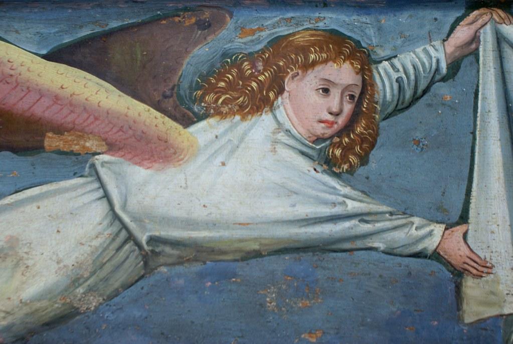 Peinture gothique d'ange au Musée National à Copenhague.