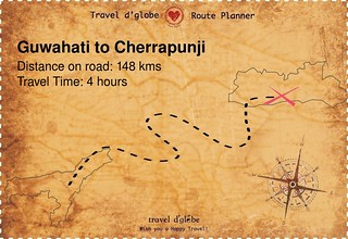 Map from Guwahati to Cherrapunji