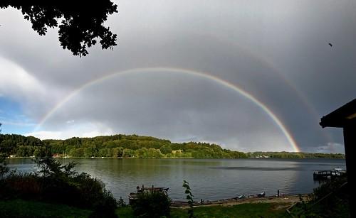 doublerainbow rainbow møgelø julsø lake water camp autumn cameraphone iphone 7 plus larseraq juulsborg