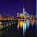 9/11 Tribute in Lights Reflection with One World Trade Center by Bryan Carnathan