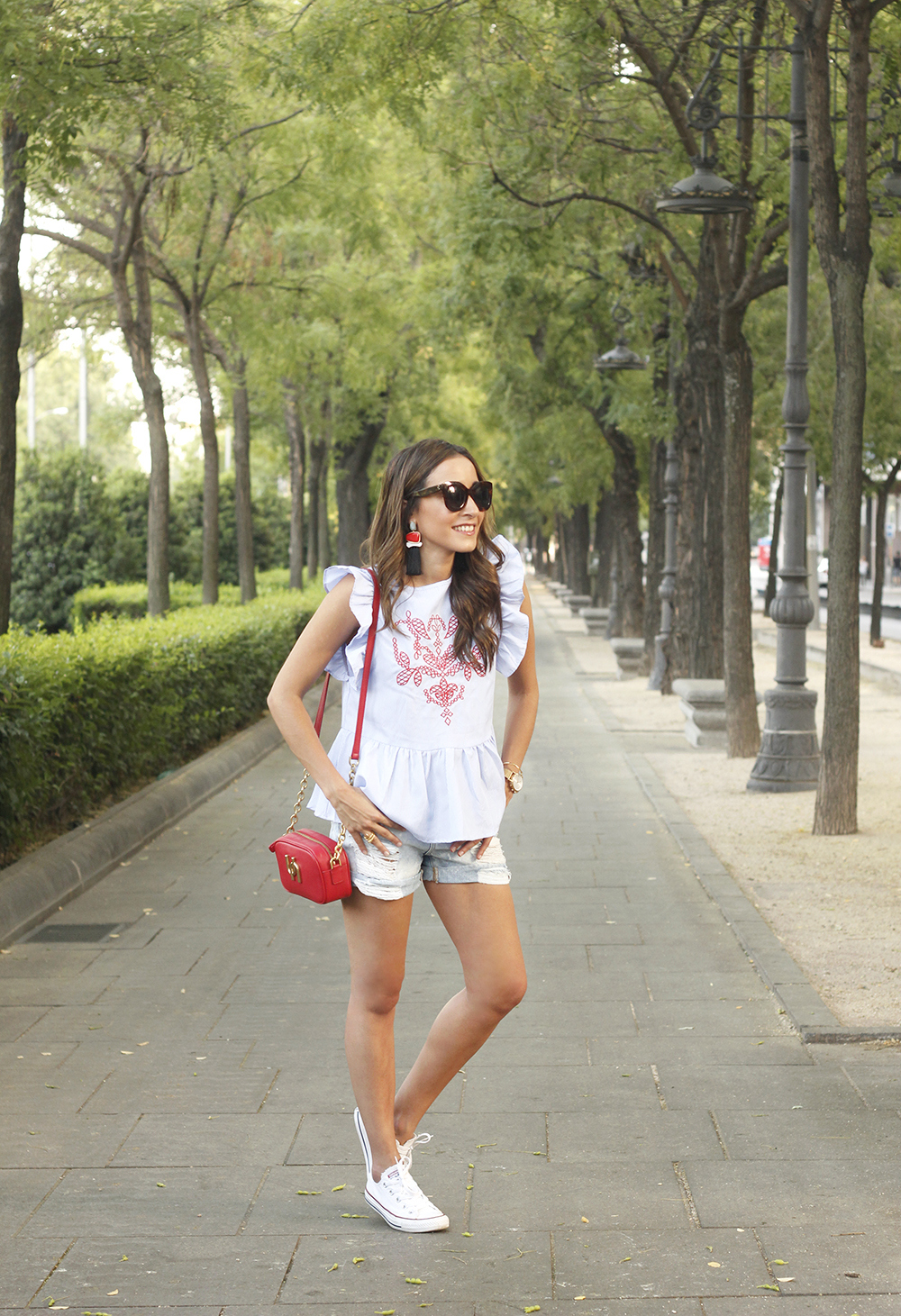 striped top with frills casual outfit summer denim shorts red fashion style10