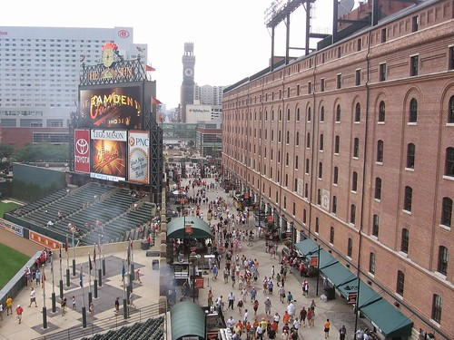 Pedestrianized Eutaw Street adjacent to Camden Yards