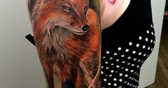 Realistic Fox Tattoo Design. If you want something really realistic and fiery, then this realistic fox tattoo design is the one you ought to have.