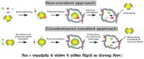 एम.आई.पी. के संश्लेषण में उपस्थित सिद्धांतों का योजनाबद्ध चित्रण।