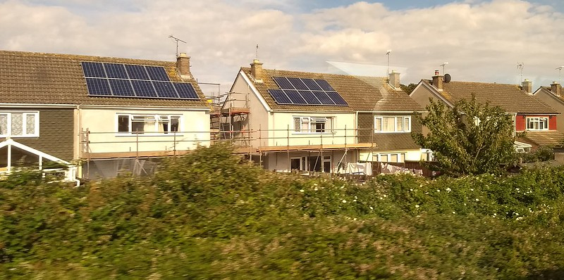 Solar panels on houses, Somerset, England