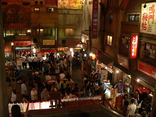 Ramen stands in the simulated Showa-era Japanese town in the Shin-Yokohama Raumen Museum in Shin-Yokohama, Japan