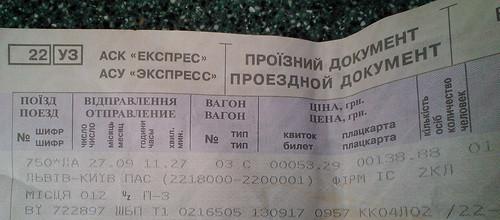 乌克兰火车票