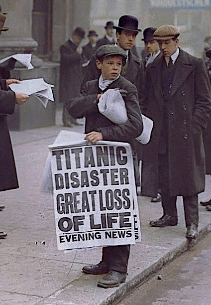 London newsboy Ned Parfett with news of the disaster.