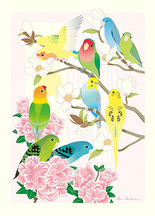 Kobus magnolia, Indian azalea, Lilian's lovebird, rosy-faced lovebird, barred parakeet and budgerigar