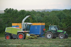 Claas Jaguar 870 SPFH filling a Broughan Engineering Mega HiSpeed Trailer drawn by a Deutz Fahr Agronton 165.7 Tractor