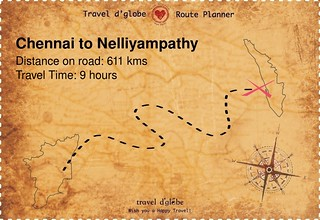Map from Chennai to Nelliyampathy