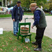 Testing the apple press before the start of the Reading Town Meal
